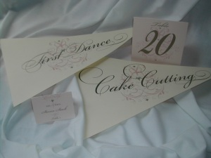 Wedding Flags, Table Tent and Place Card