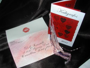 Valentine Invitation with Painted, Hand Addressed envelope