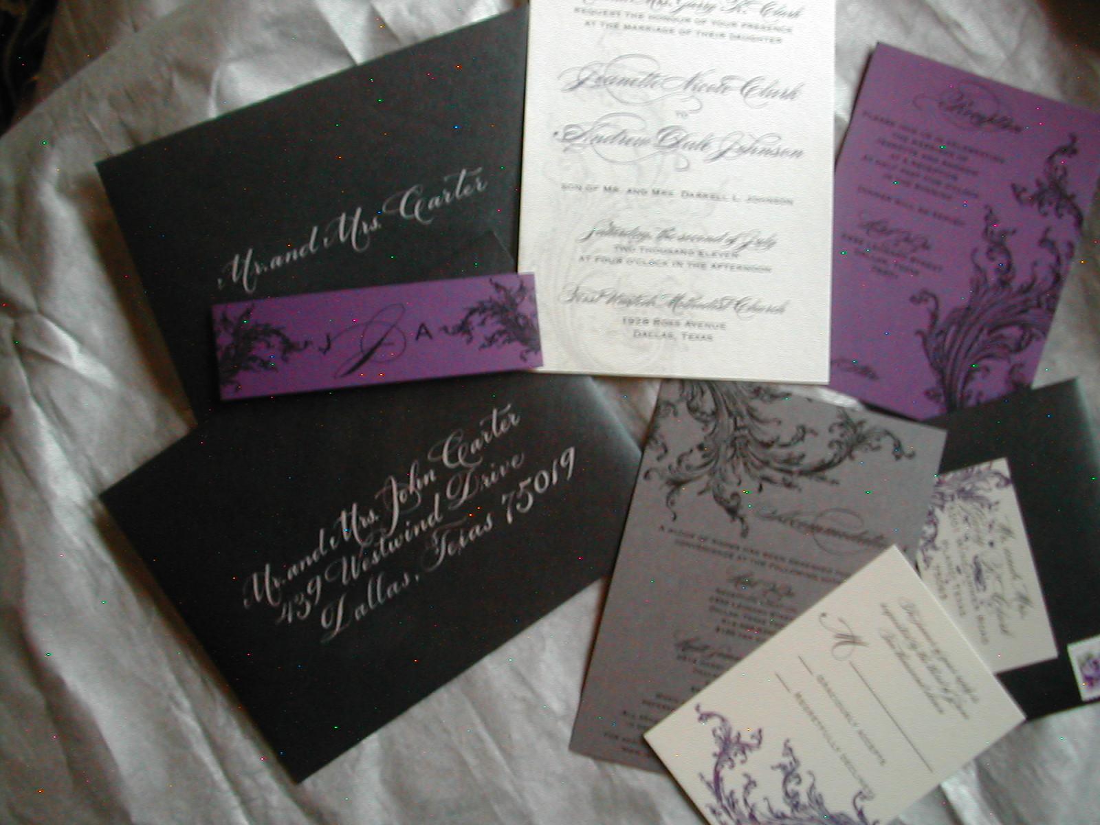 Where To Get Wedding Invitations: Black And Purple Wedding Invitation