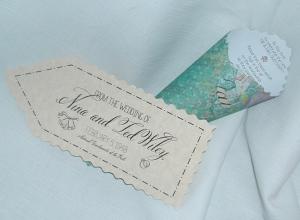 Wedding tag and rose petal holder