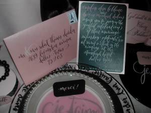 Pink and black invitation and envelope for Coco Chanel shoot