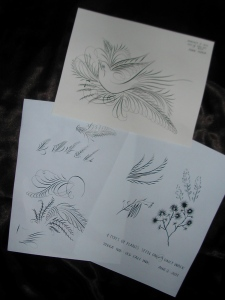 Original plant and feather drawings and an attempt to copy Jake Weidmann's bird flourish