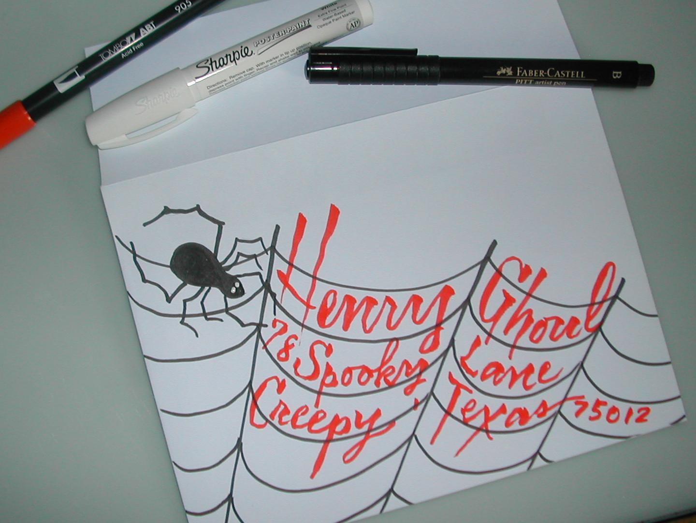 "Spooky"" DIY Halloween envelope and Invite | Lettering Art Studio"