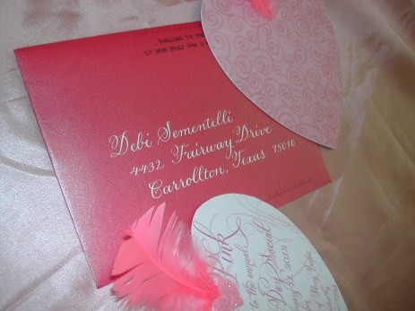 Hand lettered envelope in white on Deep Pink
