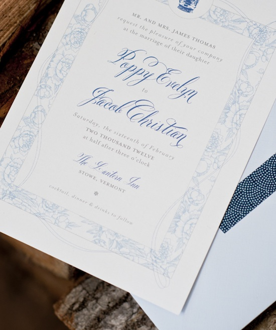 Christa Alexandra Blue and White wedding invitation with Belluccia font