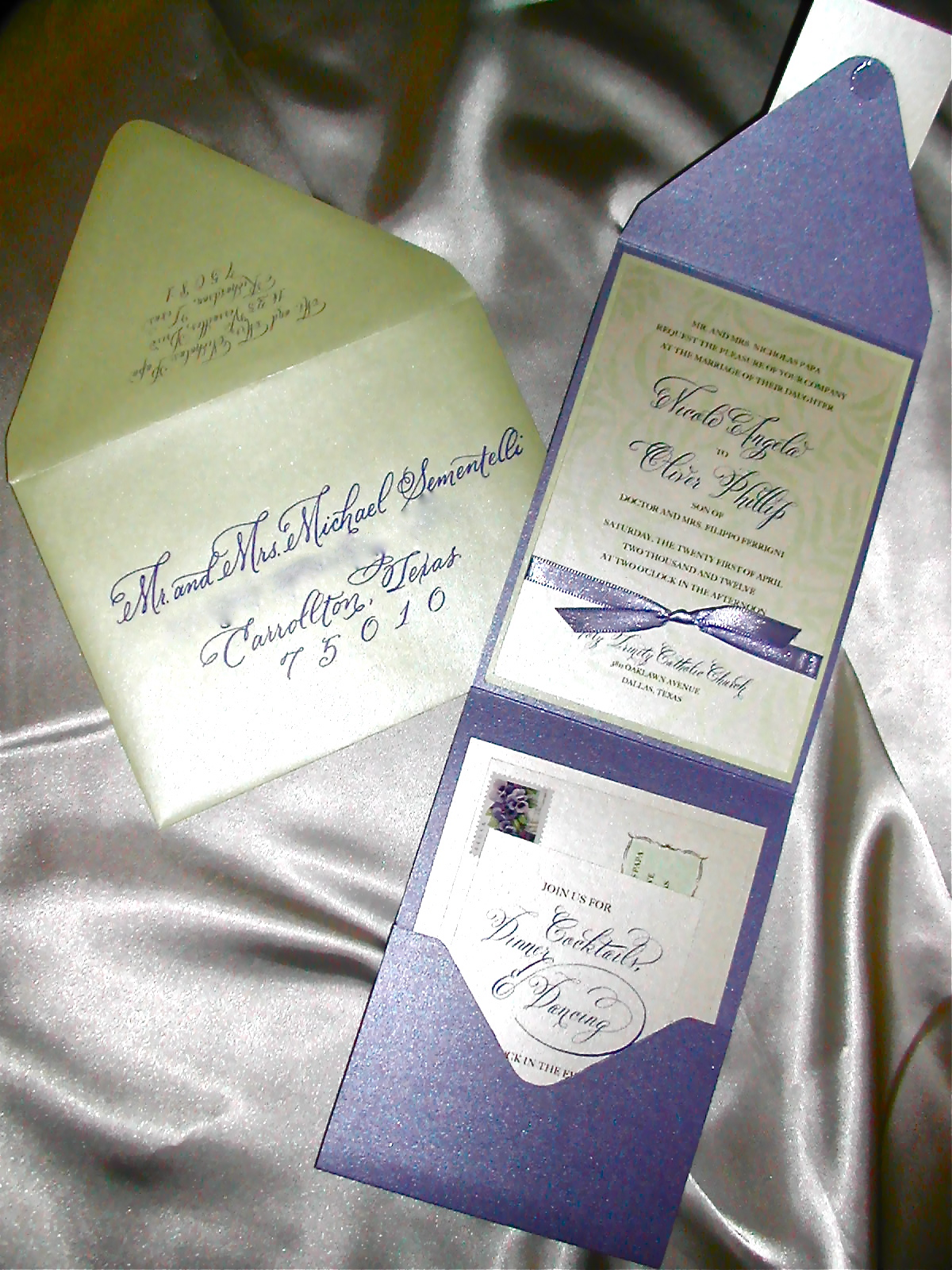 DIY Wedding Invitation With Cursive Font