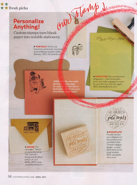 Country Living Fresh Picks, Calligraphy Stamp, Custom Calligraphy Stamp, Calligraphy name on rubber stamp, stationery, Country Living magazine April 2012 issue