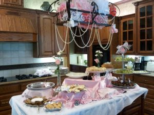 French themed baby shower, pink and black shower decorations, calligraphy