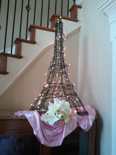 Black and pink baby shower decorations lettering art studio for Eiffel tower decorations for the home