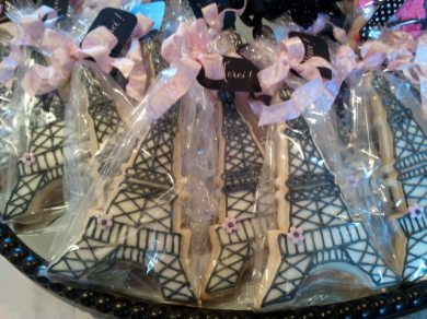 Eiffel Tower Cookies, Merci, French themed baby shower, pink and black shower decorations, calligraphy, baby shower favors