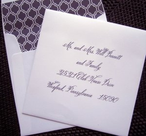 Belluccia font, calligraphy font, wedding font, script font, cursive font, font used for envelope addressing, calligraphy font on envelope, fancy font
