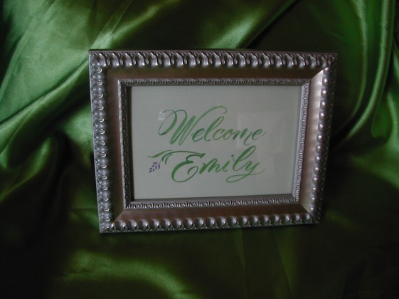 calligraphy, hand lettering, welcome sign, brush lettering