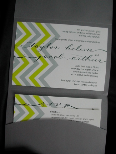 calligraphy, wedding, invitation, chevron design, hand lettering, grey and yellow invitation