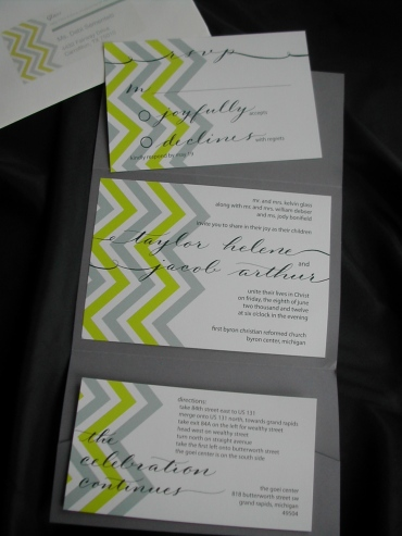 g, invitation, chevron design, hand lettering, grey and yellow invitation, rsvp postcard