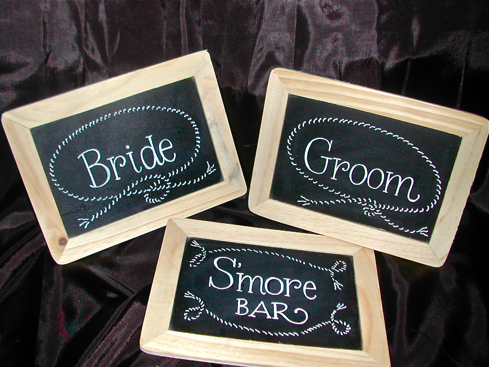 rustic wedding signs bride and groom signscalligraphy lettering on chalkboard chalkboard