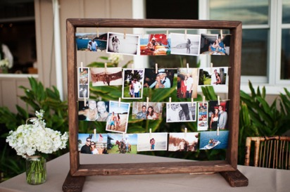 display of bride and groom pics, wedding picture display