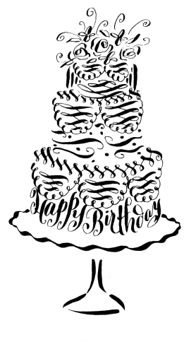 debi sementelli, pen and ink illustration, birthday cake, happy birthday, lettering art studio