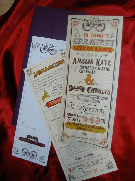 big top themed wedding invitation, circus themed wedding invitation, wedding invitation., Belluccia font, cursive font, fancy font, script font, wedding font