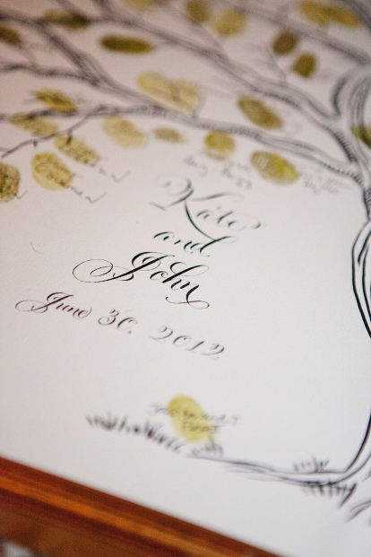 wedding tree thumb print sign in, wedding guest book, pen and ink tree illustration, hand lettering, calligraphy, framed thumb tree print, Belluccia calligraphy font, wedding font, cursive font, fancy font, script font