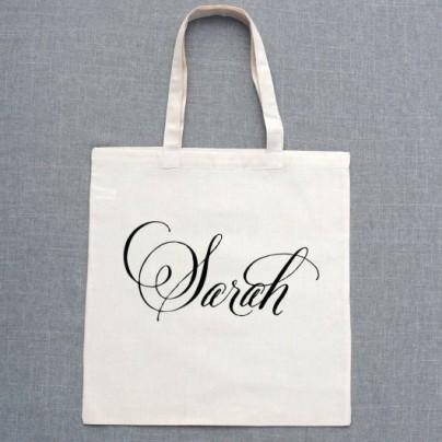 Belluccia font, fancy font, cursive font, script font, wedding font, personalized tote bags, bridesmaids gifts, tote bag