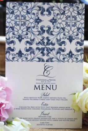 belluccia font, calligraphy font, script font, cursive font, fancy font, calligraphy wedding invitation,blue and white wedding invitation suite, wedding menu, blue and white  menu