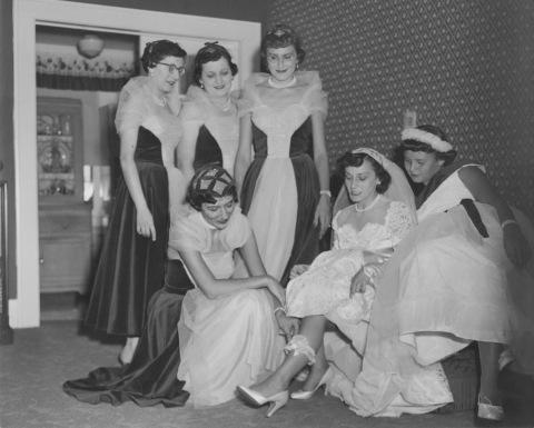 Wedding, 1950 wedding, bridal gown, 50's bridesmaids dresses, black and white photography, cursive font, DomLovesMary font, script font, wedding font, fancy font