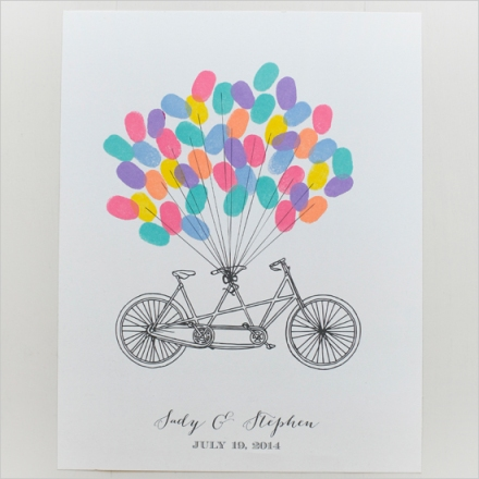 Free Bicycle Thumb Print Guest Book from Wedding Chicks, DIY Wedding give away