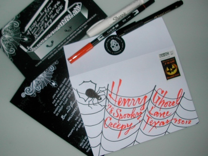 hand lettering, calligraphy on envelopes, halloween invitation