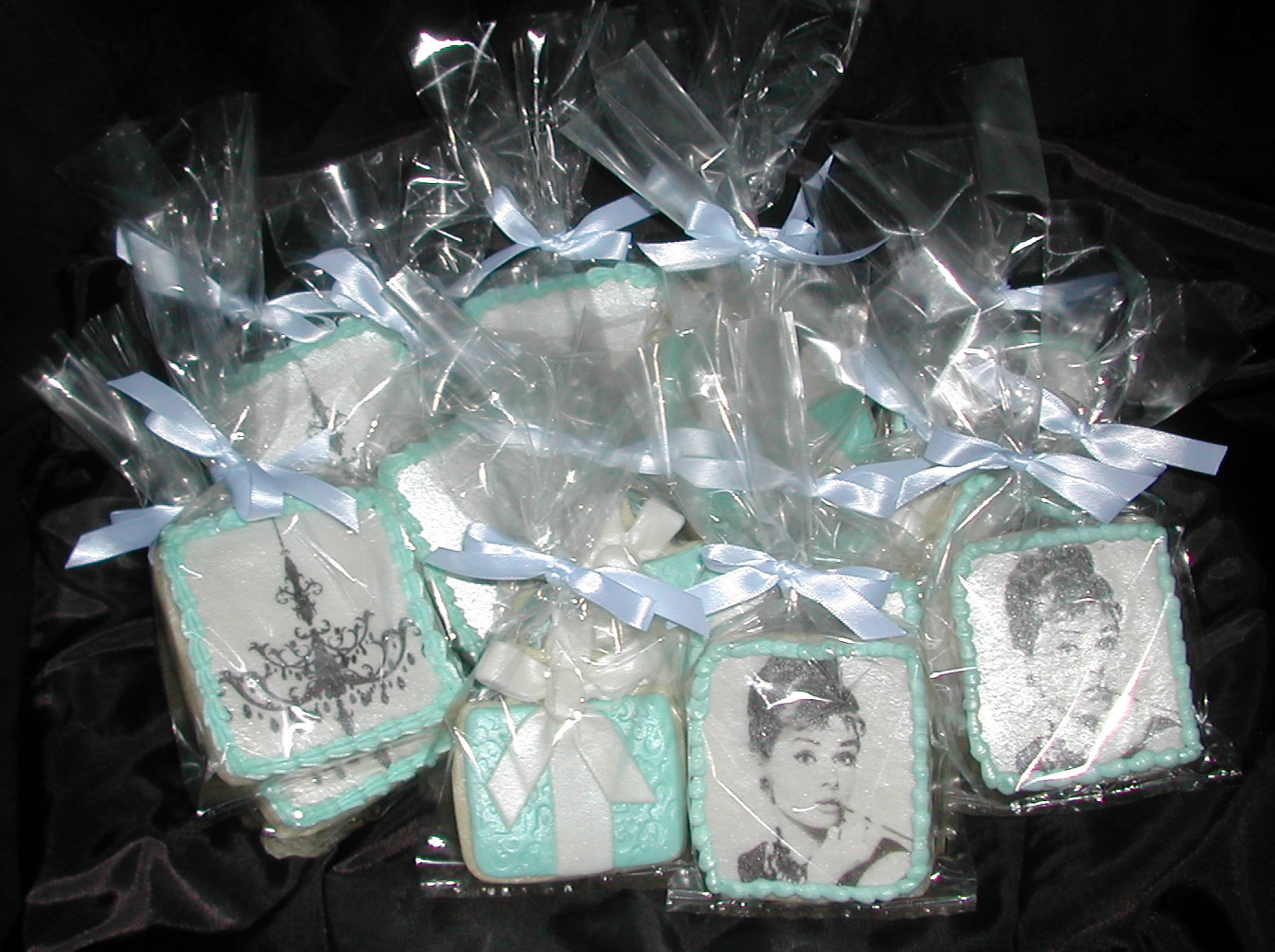 breakfast at tiffanys audrey hepburn decorated cookies bridal shower favors edible party