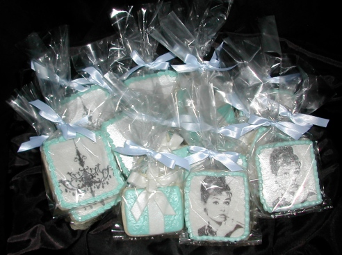 Breakfast at Tiffany's, Audrey Hepburn, decorated cookies, Bridal Shower favors, edible party favors