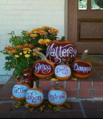 hand lettering, calligraphy, names painted on pumpkins, personalized pumpkins, halloween pumpkins
