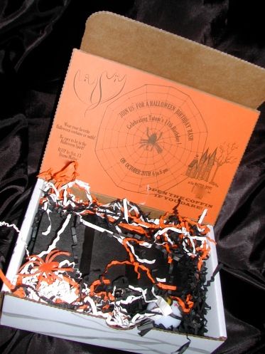 Halloween invitation, Halloween cookies, toy wooden coffin, spooky hand lettering, calligraphy