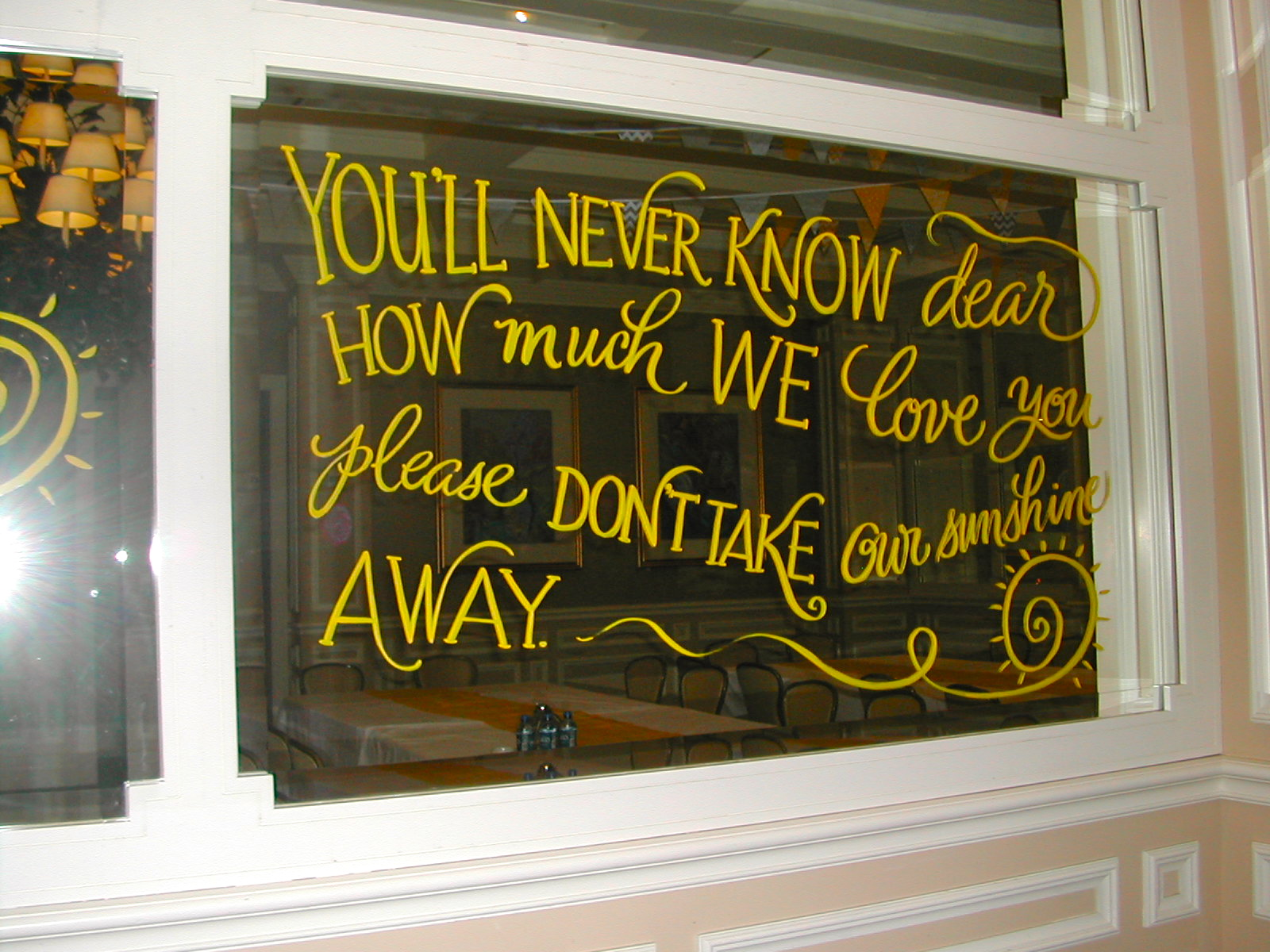 Hand Lettering On Mirrors Calligraphy You Are My Sunshine Birthday Decoration