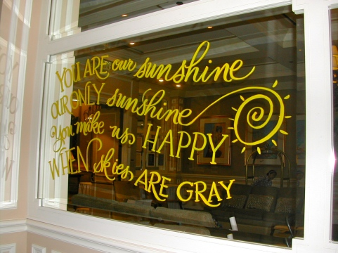 hand lettering, lettering on mirrors, calligraphy, you are my sunshine, birthday decoration