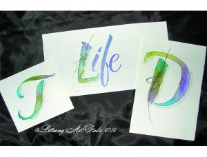 Calligraphy, Hand lettering, watercolor lettering, Debi Sementelli, Lettering Art Studio