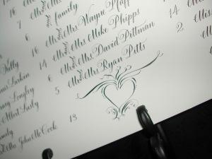Calligraphy Seating Chart Lettering Art Studio