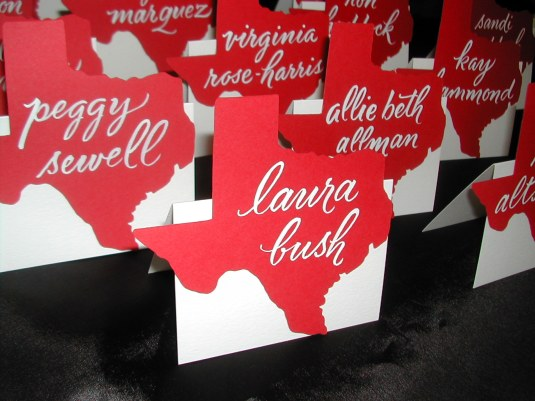 calligraphy, calligraphy on place cards, lettering art studio, debi sementelli, calligraphy on texas shaped place cards, go red for women, hand lettering, brush lettering, best selling fonts, top selling fonts, calligraphy font, script font, cursive font, wedding font, fonts for invitations, fonts for weddings
