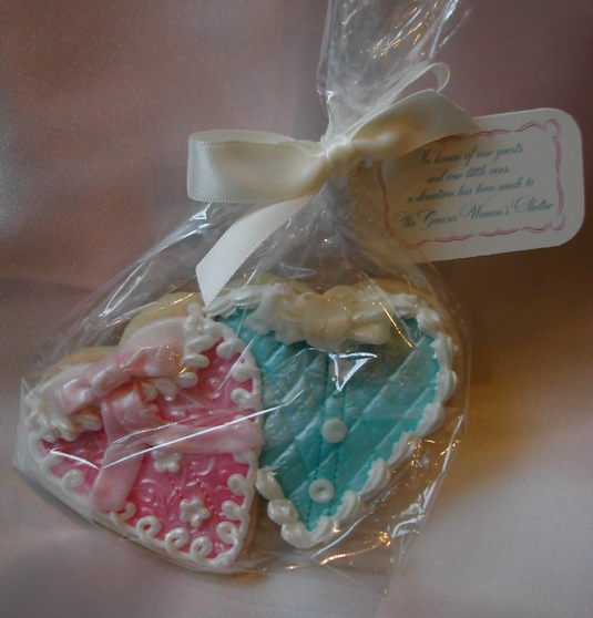 cookie favors, heart cookies, heart cookie favors, double heart cookies, cookie favors for baby shower, cookie favors for twin baby shower